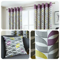 Fusion COPELAND Heather 100% Cotton Ready Made Eyelet Curtains & Cushions