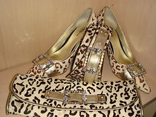 Karen Millen Snow Leopard ponyskin leather Jeweled buckle Shoes 41/7