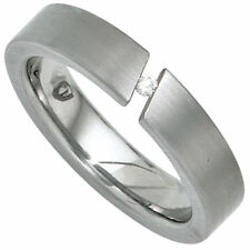 Ring Women's Ring Made of Stainless Steel Matte With Diamond Plain