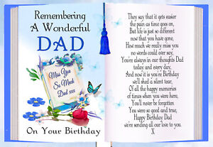DAD BIRTHDAY MEMORIAL REMEMBERANCE BEREAVEMENT GRAVESIDE KEEPSAKE CARD & HOLDER