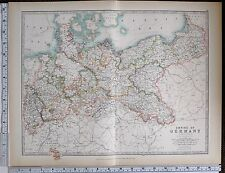 1903 LARGE MAP EMPIRE OF GERMANY NORTH KINGDOM OF SAXONY POSEN HANOVER