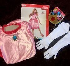 Princess Peach Costume Super Mario Bros Halloween Dress Crown Gloves Girl 10-12
