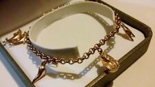 FABULOUS 9ct 375 Solid Yellow Gold Egyptian Theme Charm Bracelet With 5 Charms*