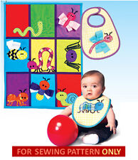 SEWING PATTERN! MAKE BABY BIB~QUILT! INSECT~BUG~BEE~WORM~SNAIL APPLIQUES!