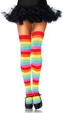 Women Cotton Blends Thigh High Warm Rainbow Striped Knee Pride Socks Legging