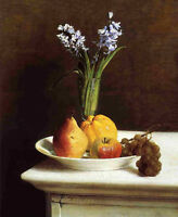 Oil painting Henri Fantin Latour - Still Life Hyacinths and Fruit plate on table