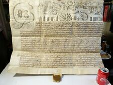 c1689 William & Mary Royal Latin Manuscript Document Partial Wax GREAT Seal