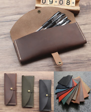 fountain pen bag pencil cow Leather stationery pouch case Customize brown A1052