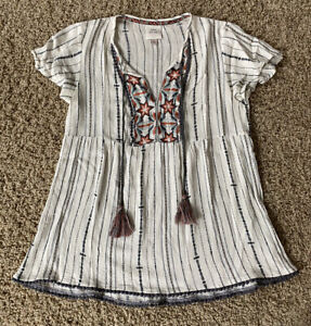Knox Rose Womens White Striped Embroidered Boho Blouse Size S Tassels