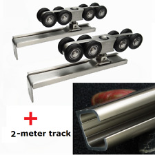Hanging Sliding Door Closet Hardware Kit Wheels Roller Set With 2meter track