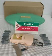 Vintage 1960 SINGER BUTTONHOLER Sewing Machine Attachment GREEN CASE