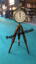 Wooden Table Clock with Wood Tripod Stand Handmade Decor and gift Item