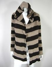 NIKI BIKI Long Sleeve Cardigan Sweater Size M Medium HOODED BROWN STRIPED Wool