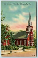Vintage Linen Postcard St. Mary's Church Kingston New York NY