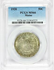 1920 U.S. Maine Centennial Commemorative Half Dollar Silver Coin - PCGS MS 66