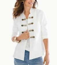 Chico's sz 1 Petite (MP) White Peplum 3/4 Sleeve Open Front Military Jacket