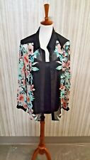 WOMENS AB Studio Black Multi Floral Blouse Attached Easily Remove Camisole XL
