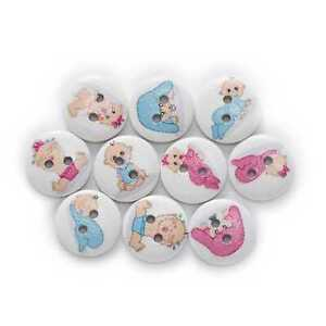 50pcs Baby Series Printing Wooden Buttons Sewing Scrapbook Handwork Decor 15mm