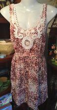 Festival Boho Hippy Beach Cotton On Burgundy Pink Dotty Sun Mini Dress Sz S