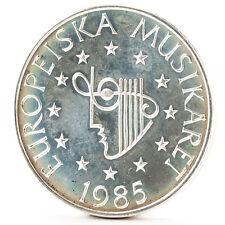 100 corone argento moneta Svezia 1985 SILVER COIN Sweden European Music Year