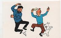 Carte postale Tintin et Haddock dansent. ARNO 1980, 11,7 x 17,5 cm, 2 volets