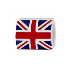 British Flag Union Jack 925 Sterling Silver Bead for Charm Bracelets BF1184