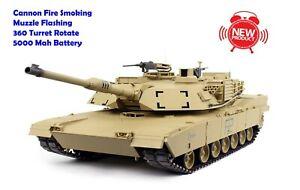 Heng Long RC Tank 1/16 Abrams M1A2 Cannon Smoking / 360 Turret Rotate Pro UK