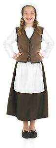 Kids Tudor Girl Costume M - XL Kids Peasant Kitchen Maid Fancy Dress Book Week