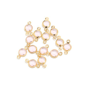 10pcs Pink Glass Crystal Round Stone Stainless Steel Gold Connectors for Jewelry