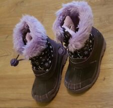 Girls Purple Fur Snow Winter Boots UK 8 Eu 26