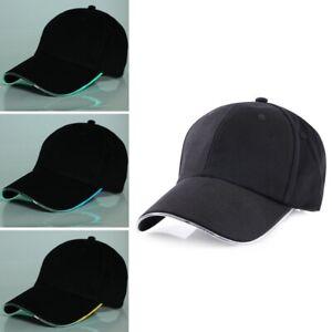 Colorful LED Peaked Cap Unisex Black Cotton Baseball Cpas Sport Outdoors Hat