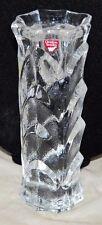"""Vintage Orrefors Sweden Clear Crystal Textured Vine Candle Holder 7 & 5/8"""" Tall"""
