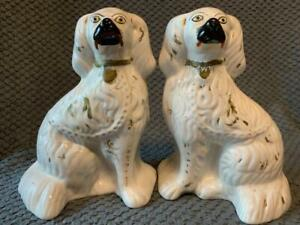 PAIR VICTORIAN STAFFORDSHIRE  MANTLE DOGS  26cm