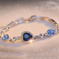 Women Heart Crystal Charm Bracelet Love Cuff Bangles Silver Color Jewelry Gift