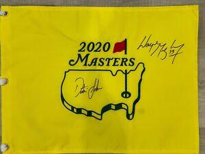 Autographed Dustin Johnson and Wayne Gretzky 2020 Masters Flag