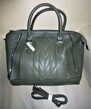 ❤️ 👜 Damen Tasche Handtasche Henkeltasche Schultertasche dunkel grün gold NEU