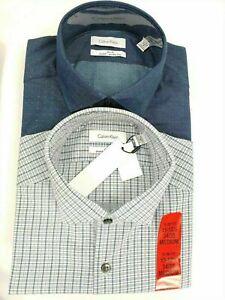 NEW Men's Calvin Klein Slim Fit Stretch Wrinkle Free 2 Pack Dress Shirt Set