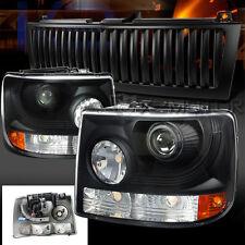 Chevy 99-02 Silverado Suburban Black Projector Headlights+Vertical Hood Grille