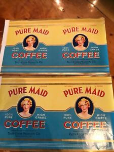PURE MAID Brand, Bownwood Texas, *AN ORIGINAL 1930's COFFEE LABELS +2