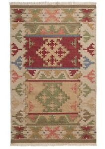 Bikaner Wool Cotton Kilim Rug Geometric Design With Natural and Multi Colours