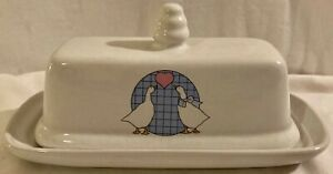 Country Geese Ducks Stoneware Butter Dish