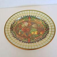 Daher Decorated Ware Oval Tin Tray Wall Hanging Floral And Fruit Design Vintage