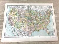 1891 Antik Landkarte Der Vereinigte Staaten Von America USA US Alte 19th Century