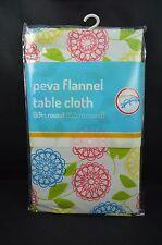 "Flannel Back Peva Tablecloth Multi - Color Flower Floral 60"" Round #136"