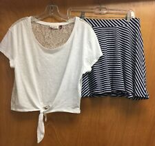 Juniors Outfit Navy Blue & White Skater Skirt & White Top Shirt Size M