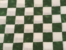 """""""Hen Pecked"""" Green Checkered Cotton Fabric By The Yard BTY"""