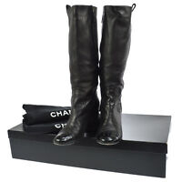 Authentic CHANEL Vintage CC Logos Long Boots Black Leather #36 1/2 C NR10441b