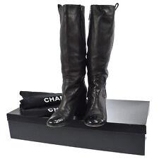 Authentic CHANEL Vintage CC Logos Long Boots Black Leather #36 1/2 C V14747