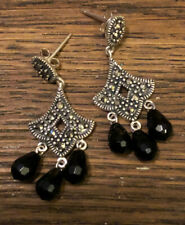 CFJ 925 Sterling Silver Marcasite Dangle Earrings