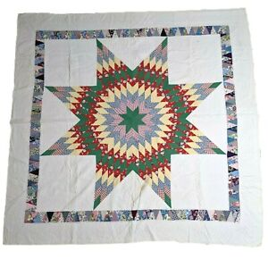"""Vintage Lone Star Multi Fabric Cotton Hand Stitched Quilt Blanket 76"""" x 78"""""""